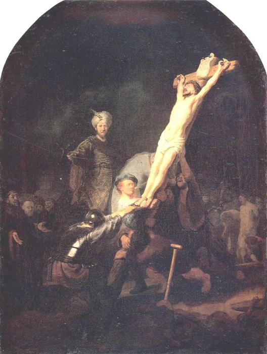 Crucifixion, Oil On Canvas by Rembrandt Van Rijn (1606-1669, Netherlands)