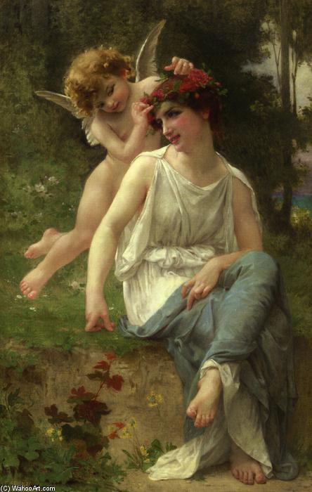 Cupid Adoring a Young Maiden, Oil On Canvas by Guillaume Seignac (1870-1924, France)