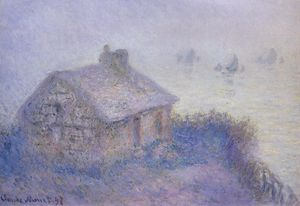 Claude Monet - Customs House at Varengeville in the Fog (also known as Blue Effect)