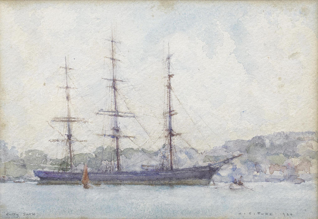 The Cutty Sark moored in Falmouth harbour, Watercolour by Henry Scott Tuke (1858-1929, United Kingdom)