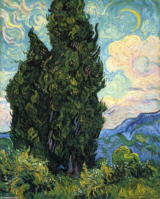 Cypresses, 1889 by Vincent Van Gogh (1853-1890, Netherlands) | Paintings Reproductions Vincent Van Gogh | WahooArt.com