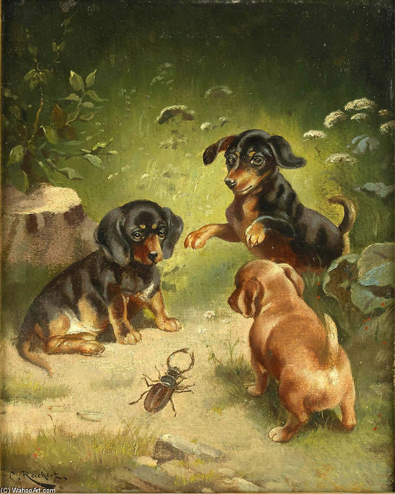 Dachshund puppies at play by Carl Reichert (1836-1918, Germany) | Art Reproduction | WahooArt.com
