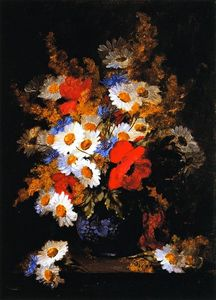 Raoul De Longpre - Daisies, Poppies and Cornflowers