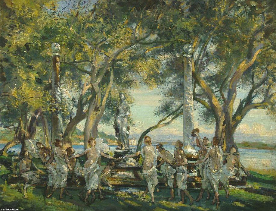 Dance of the Nymphs, Corfu, 1910 by Wilfred Gabriel De Glehn (1870-1951, United Kingdom) | Museum Quality Reproductions | WahooArt.com