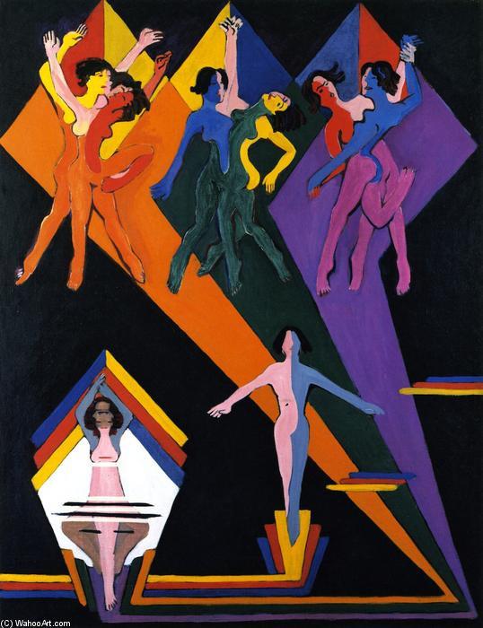 Dancing Girls in Rays of Color, Oil On Canvas by Ernst Ludwig Kirchner (1880-1938, Germany)