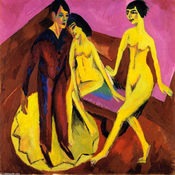 Dancing School (also known as Ballet Scene), 1914 by Ernst Ludwig Kirchner (1880-1938, Germany) | Art Reproductions Ernst Ludwig Kirchner | WahooArt.com