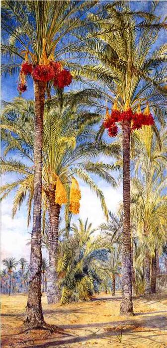 Date Trees, Ramleh, Egypt, Watercolour by Henry Roderick Newman (1833-1918, United States)