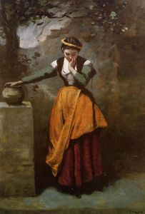Jean Baptiste Camille Corot - Daydreaming at the Fountain