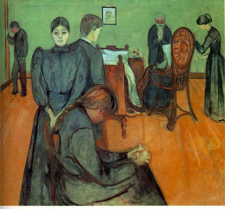 Death in the sickroom, 1893 by Edvard Munch (1863-1944, Sweden) | Reproductions Edvard Munch | WahooArt.com