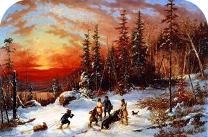 Cornelius David Krieghoff - Death of the Moose at Sunset, Lake Famine South of Quebec