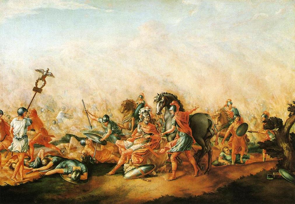 The Death of paulus Aemilius at the Battle of Cannae, Oil On Canvas by John Trumbull (1756-1843, United Kingdom)