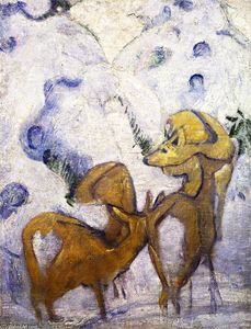 Franz Marc - Deer in the Snow I
