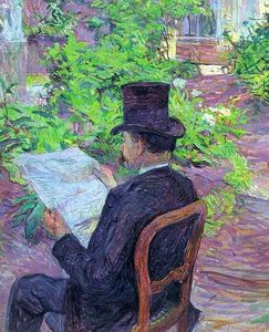 Henri De Toulouse Lautrec - Desire Dehau Reading a Newspaper in the Garden
