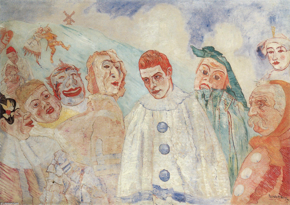 The Despair of Pierrot, Oil On Canvas by James Ensor (1860-1949, Belgium)