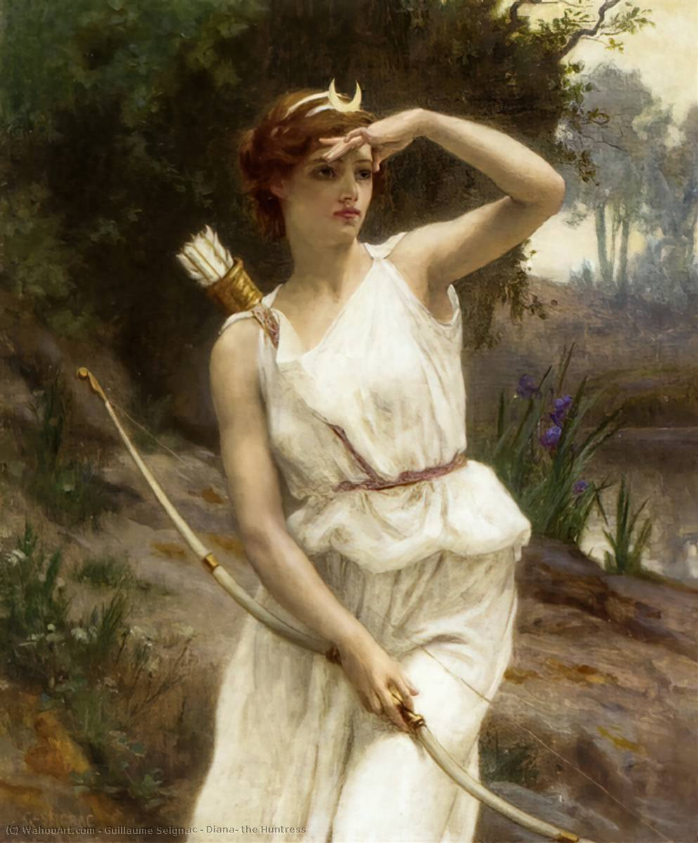 Diana, the Huntress, Oil On Canvas by Guillaume Seignac (1870-1924, France)