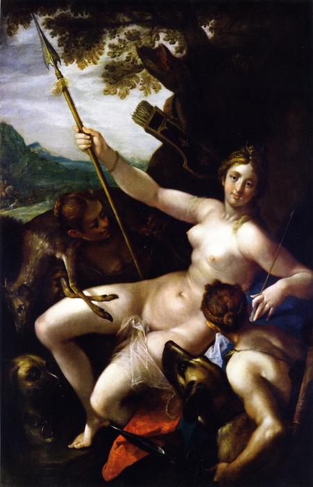 Buy Museum Art Reproductions | Diana and Her Nymphs at Rest after the Hunt by Hans Von Aachen (1552-1615, Germany) | WahooArt.com