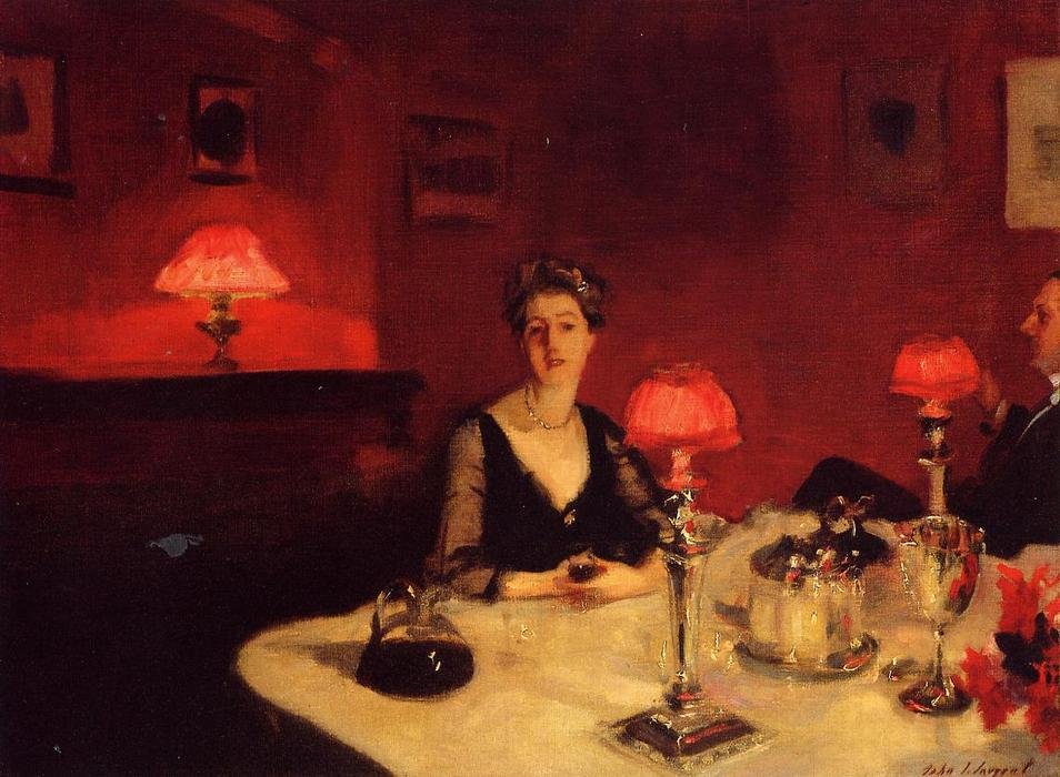 A Dinner Table at Night (also known as Mr. and Mrs. Albert Vickers), Oil On Canvas by John Singer Sargent (1856-1925, Italy)