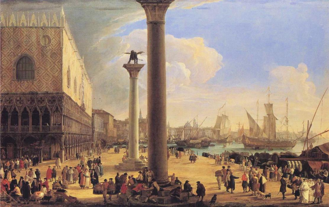 The Dock Facing the Doge`s Palace by Luca Carlevaris (1663-1730, Italy) | Art Reproduction | WahooArt.com