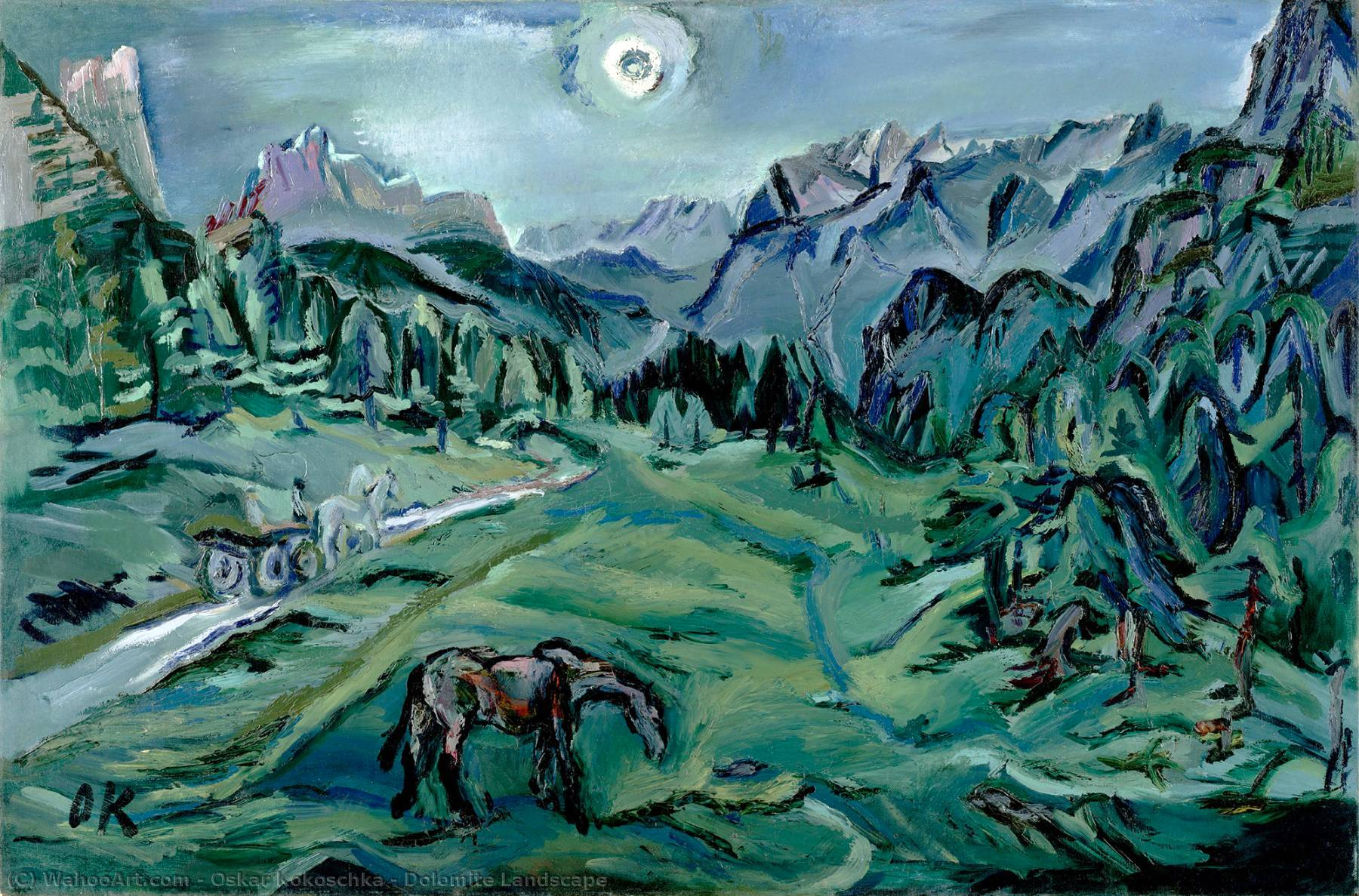 Dolomite Landscape, 1913 by Oskar Kokoschka (1886-1980, Croatia) | Famous Paintings Reproductions | WahooArt.com