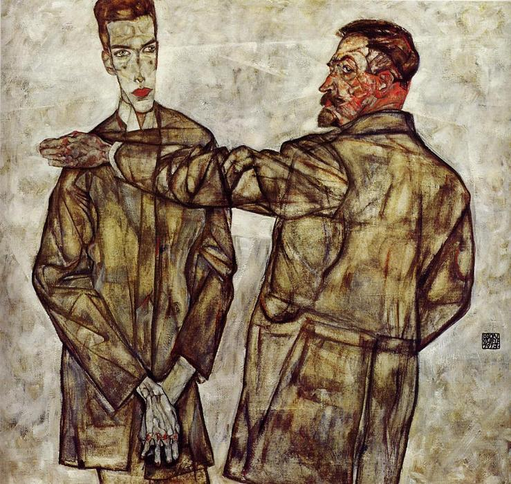 Buy Museum Art Reproductions | Double Portrait (also known as Chief Inspector Heinrich Benesch and His Son Otto), 1913 by Egon Schiele (1890-1918, Croatia) | WahooArt.com