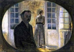 Vilhelm (Hammershøi)Hammershoi - Double Portrait of the Artist and his Wife, seen through a Mirror, The Cottage Spurveskjul
