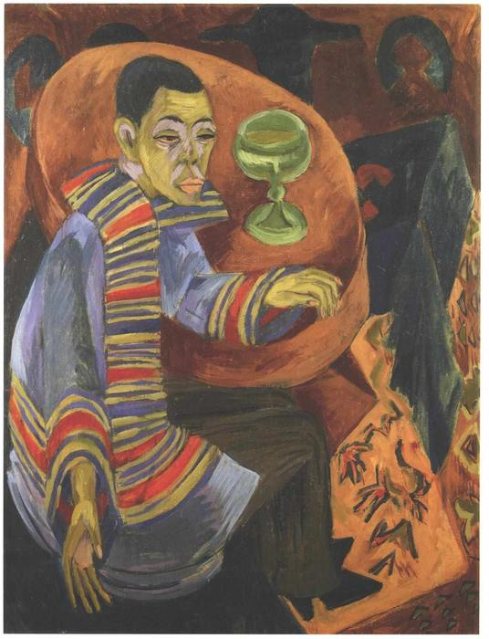 The Drinker (self-portrait), 1914 by Ernst Ludwig Kirchner (1880-1938, Germany) | Art Reproduction | WahooArt.com