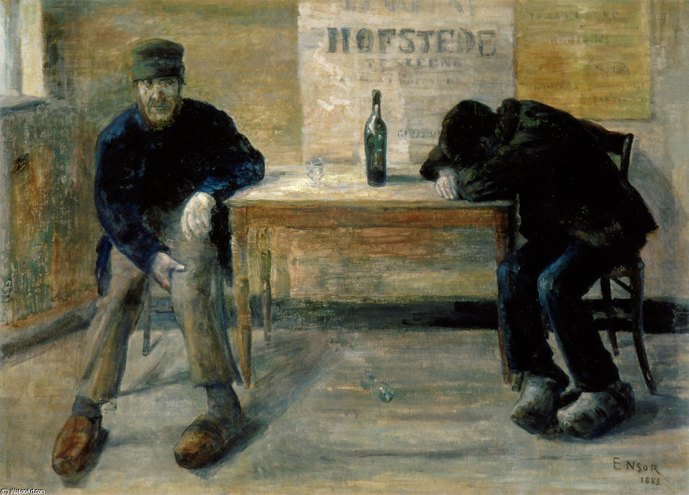 The Drunkards, Oil On Canvas by James Ensor (1860-1949, Belgium)
