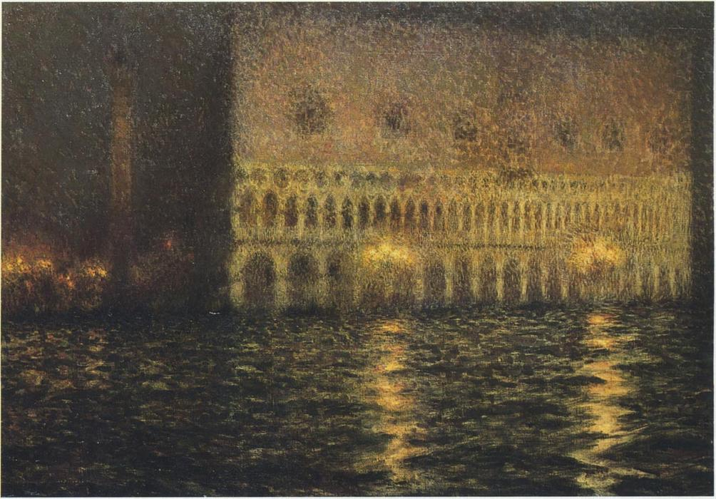 The Ducal Palace, Oil On Canvas by Henri Eugène Augustin Le Sidaner (1862-1939, Mauritius)