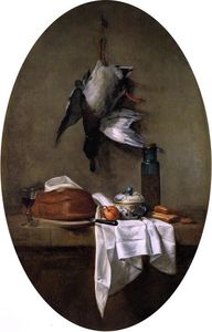 Jean-Baptiste Simeon Chardin - Duck Hanging by one Leg, Pâté, Bowl and Jar of Olives