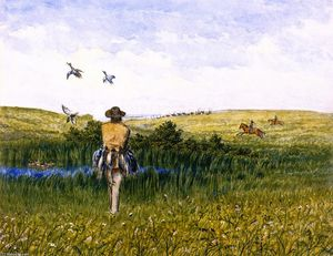 William George Richardson Hind - Duck Hunting on the Prairies with an Immigrant Wagon Train in the Distance