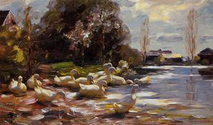 Alexander Max Koeste - Ducks on a Riverbank on a Sunny Afternoon