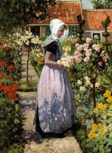 George Hitchcock - Dutch woman in a garden