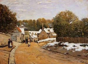Alfred Sisley - Early Snow at Louveciennes (also known as Rue de Voisins, Louveciennes: First Snow)