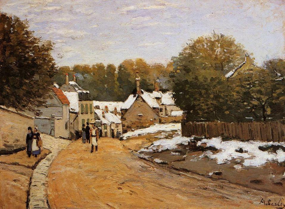 Early Snow at Louveciennes (also known as Rue de Voisins, Louveciennes: First Snow), Oil On Canvas by Alfred Sisley (1839-1899, France)