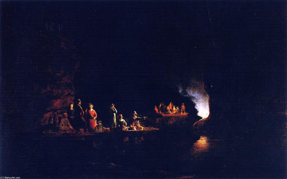 Echo River in the Mammoth Cave, Oil On Canvas by Joachim Ferdinand Richardt (1819-1895, Denmark)