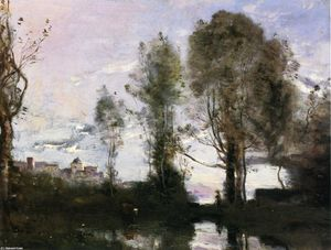 Jean Baptiste Camille Corot - Edge of a Lake (also known as Souvenir of Italy)