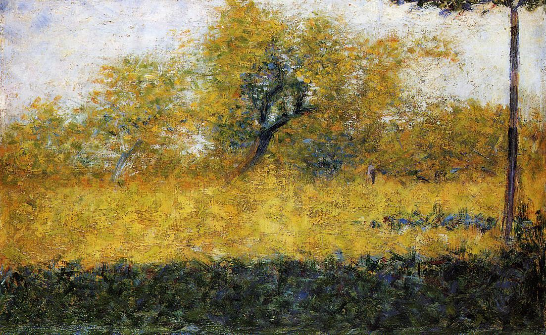 Edge of Wood, Springtime, Oil by Georges Pierre Seurat (1859-1891, France)