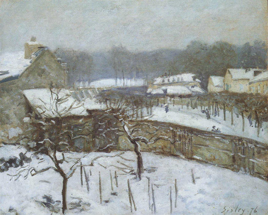 Effect of Snow, Marly, Oil On Canvas by Alfred Sisley (1839-1899, France)