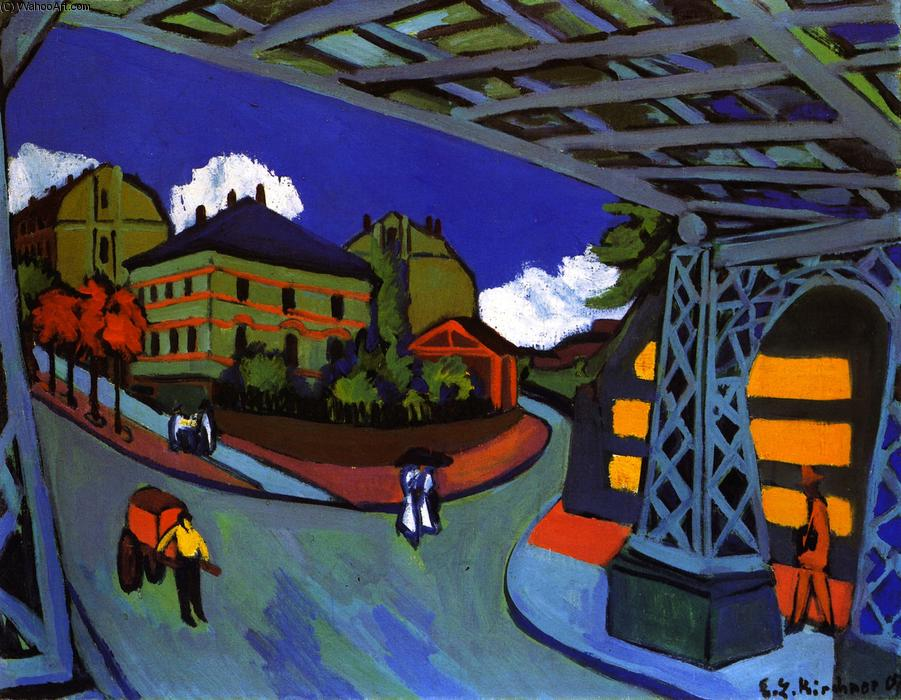 Eisenbahnüberführung an der Löbtauer Straße in Dressen-Friedrichstadt, Oil On Canvas by Ernst Ludwig Kirchner (1880-1938, Germany)