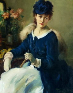 Fernand Toussaint - An Elegent Woman (also known as Lady in white-blue dress)