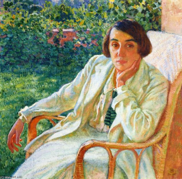 Elizabeth van Rysselberghe in a Cane Chair, Oil On Canvas by Theo Van Rysselberghe (1862-1926, Belgium)