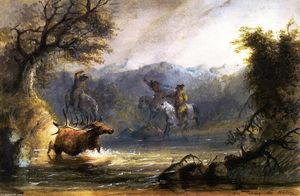 Alfred Jacob Miller - Elk Taking the Water