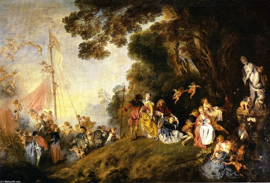 Embarkation for Cythera, 1719 by Jean Antoine Watteau (1684-1721, France) | WahooArt.com
