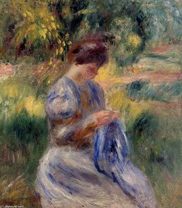 Pierre-Auguste Renoir - The Embroiderer (also known as Woman Embroidering in a Garden)