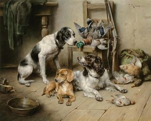 Carl Reichert - An English Pointer, a Dachshund and an English Springer Spaniel after the hunt