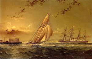 James Edward Buttersworth - English Steamer off Staten Island