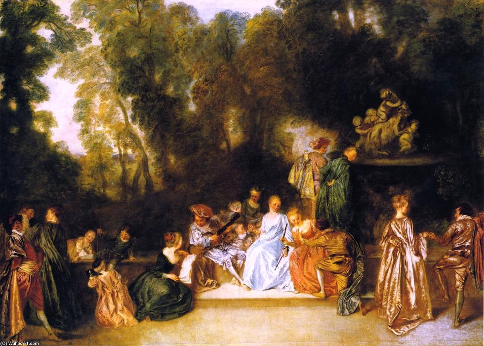 Entertainment in the Open Air, Oil On Canvas by Jean Antoine Watteau (1684-1721, France)