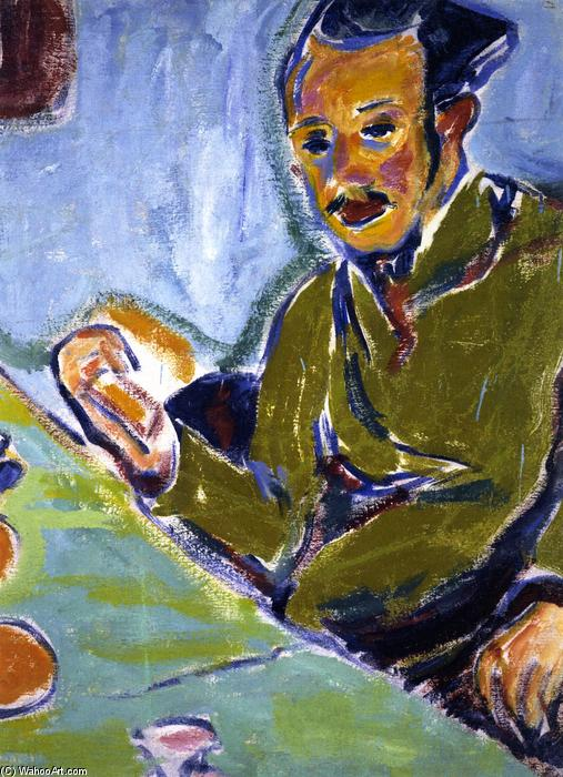 Erich zheckel, Oil On Panel by Ernst Ludwig Kirchner (1880-1938, Germany)