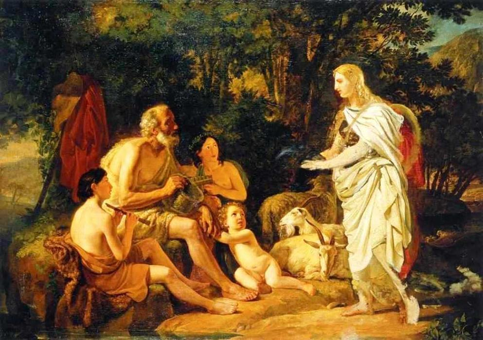 Erminia and the Shepherds. (Unfinished), 1824 by Karl Pavlovich Brulloff | Oil Painting | WahooArt.com