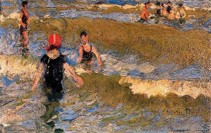 Escena en la Playa, Oil On Panel by Cecilio Pla Y Gallardo (1860-1934, Spain)